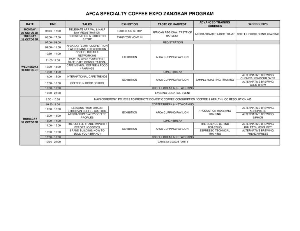 thumbnail of AFCA SPECIALTY COFFEE EXPO ZANZIBAR-PROGRAM